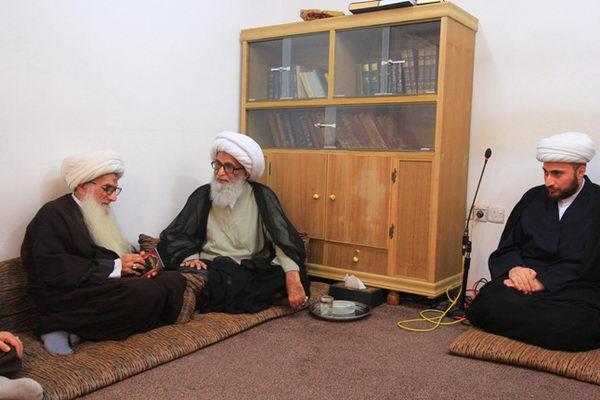 دیدار شیخ عبدالوهاب مطوری از علمای بصره با حضرت آیت الله بشیر نجفی از مراجع تقلید عراق
