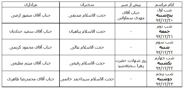 برنامه مراسم عزاداری ایام فاطمیه در حسینیه امام خمینی