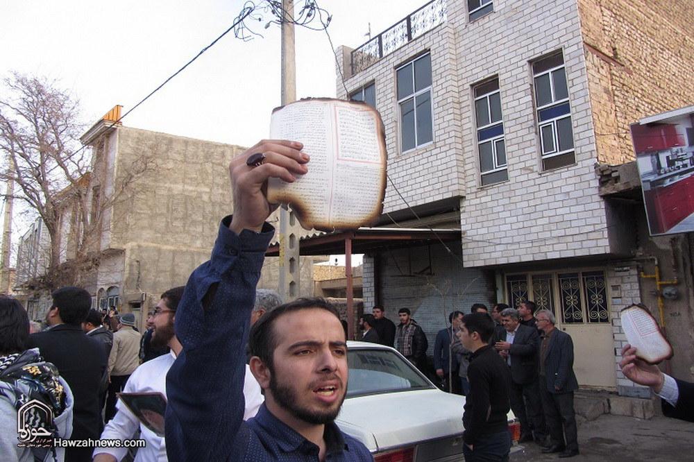 تجمع مردم    تاکستان علیه اقدام  آشوبگران در آتش زدن قرآن
