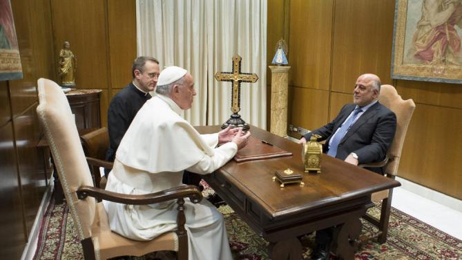 دیدار پاپ و حیدرالعبادی