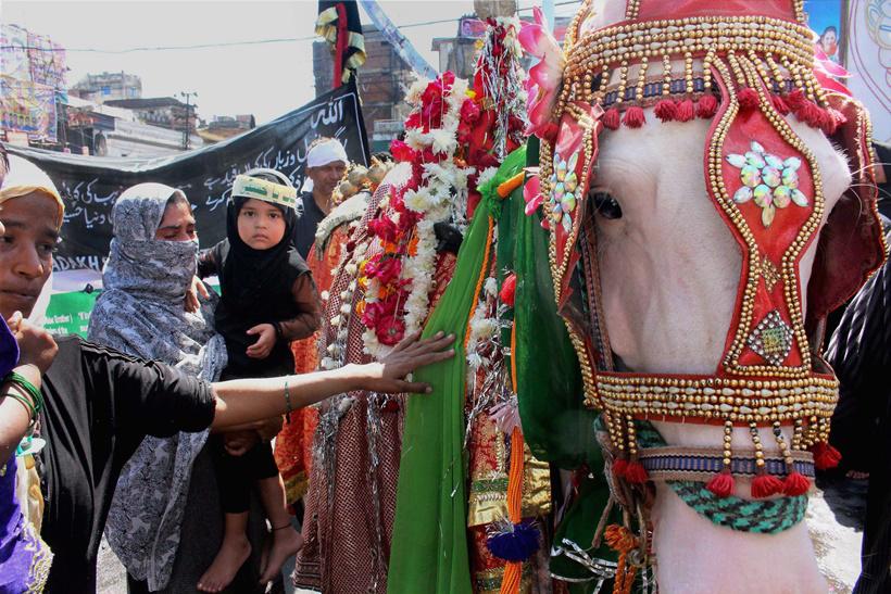 زن عزادار و کودکش در شهر بوپال هند، به اسب تمثیلی ذوالجناح ادای احترام