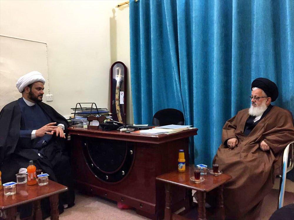 شیخ اکرم الکعبی با آیت الله حسینی نماینده رهبری در عراق دیدار کرد