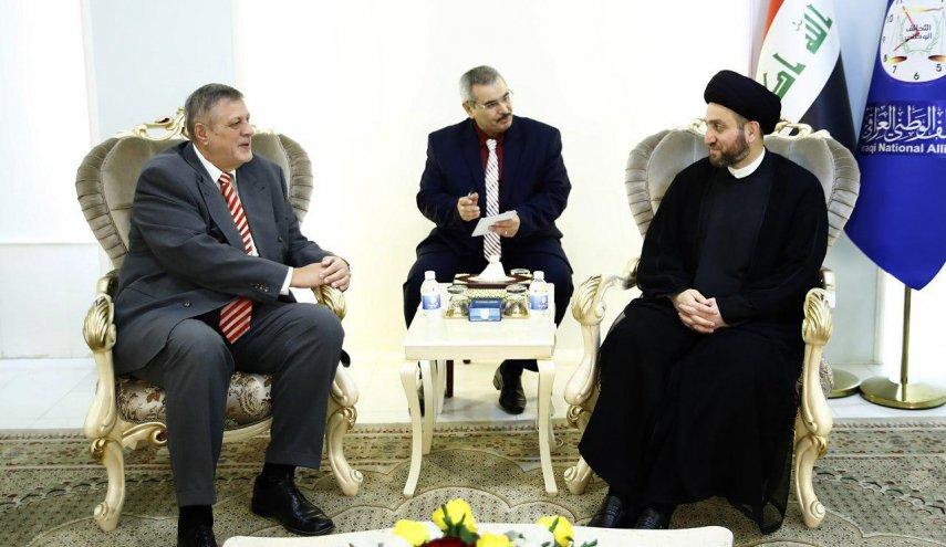 سید عمار حکیم رئیس ائتلاف ملی عراق و یان کوبیج نماینده ویژه دبیر کل سازمان ملل در عراق