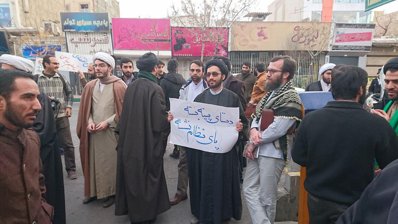 تجمع طلاب در حمایت از مردم و محکومیت اغتشاشات اخیر