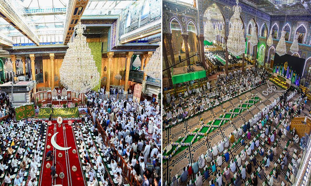 گزارش تصویری از مراسم ترتیل قرآن کریم در حرم امام حسین(ع) و حضرت عباس (ع)