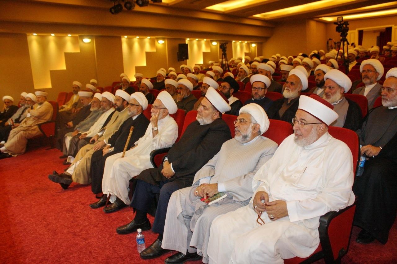 تجمع علمای مسلمان لبنان به همراه جمعیت تعلیم دینی نشست همبستگی با فلسطین برگزار کرد