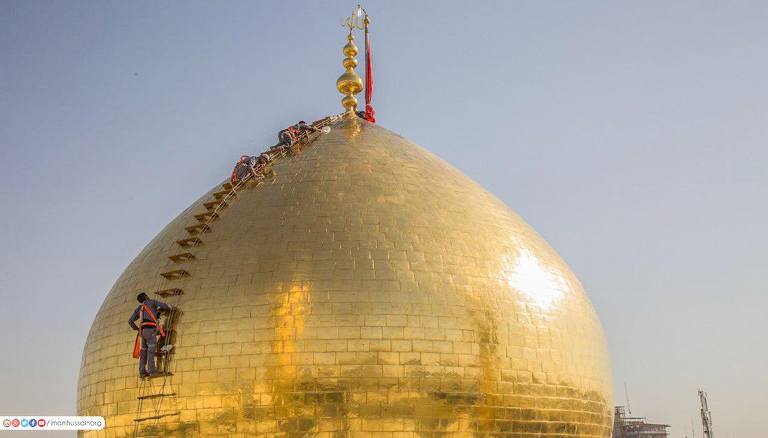 غبار روبی گنبد حرم مطهر امام حسین (ع) در آستانه ماه محرم