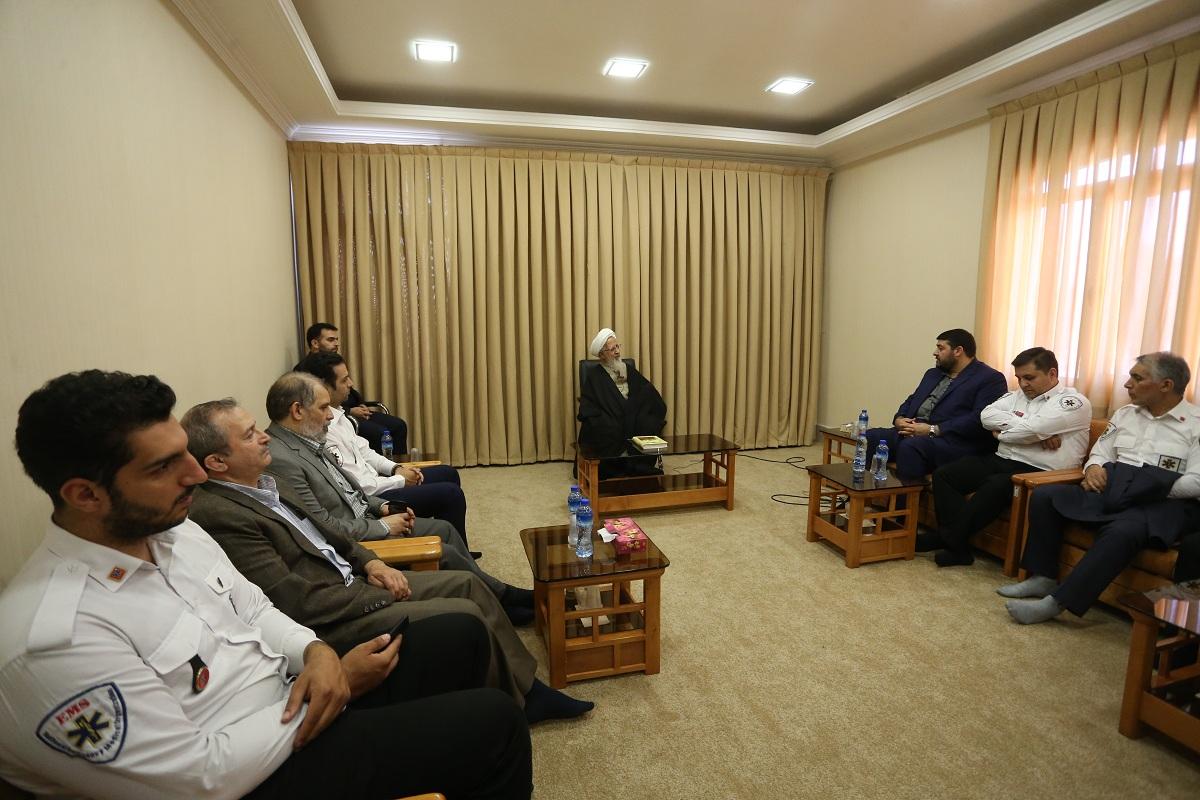 حضرت آیت الله جوادی آملی در دیدار دکتر کولیوند سرپرست سازمان اورژانس کشور