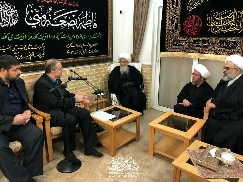 حضرت آیت الله وحید خراسانی در دیدارحسین ذوالفقاری معاون امنیتی وزیر کشور