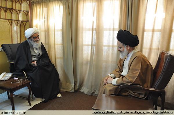 دیدار آیت الله حسینی بوشهری با آیت الله العظمی مظاهری