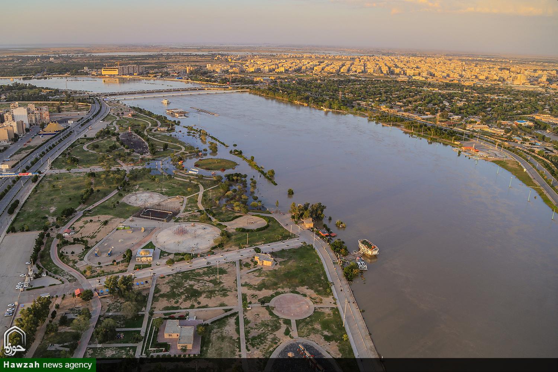 تصاویر هوایی از وضعیت سیلاب خوزستان