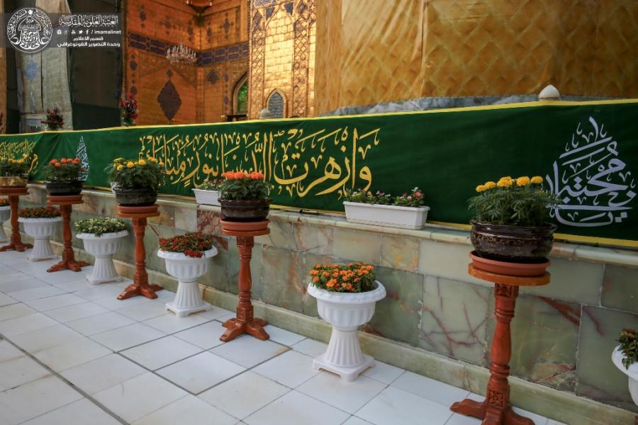 حرم امیرالمومنین (ع) با ۶هزار گل و پارچه های سبز تزیین شد