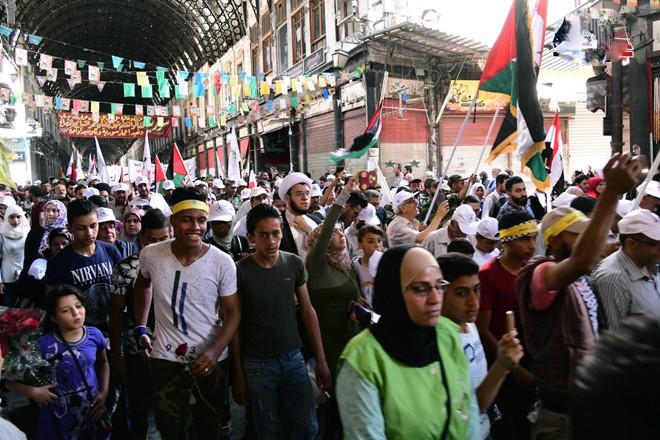 راهپیمایی روز جهانی قدس در دمشق پایتخت سوریه برگزار شد