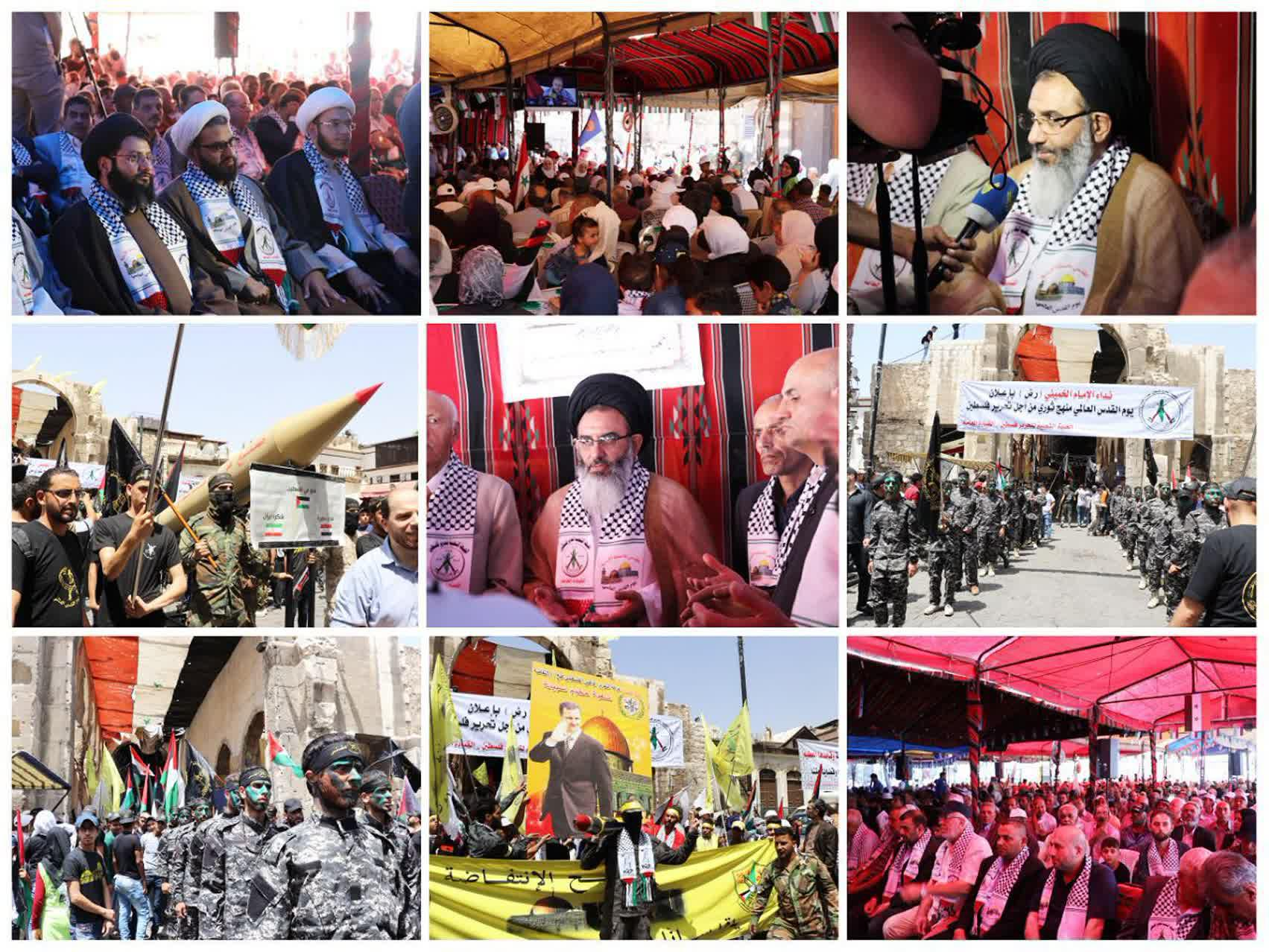 راهپیمایی روز قدس با حضور نماینده ولی فقیه در سوریه برگزار شد