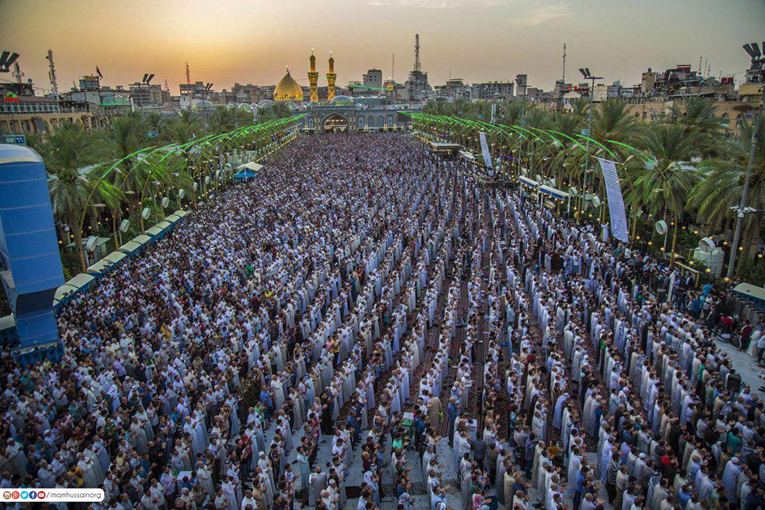 حضور میلیونی زائران در نماز باشکوه عید فطر کربلا