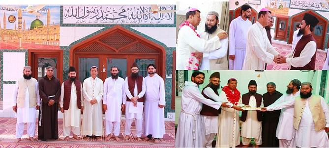 اسقف اعظم کلیسای لاهور عید فطر را در مسجد به مسلمانان تبریک گفت