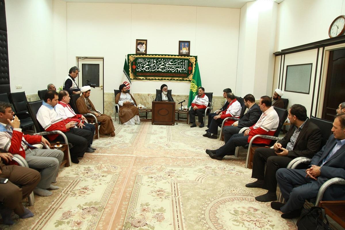 آیتالله سیدمحمد سعیدی در دیدار علیاصغر پیوندی رئیس جمعیت هلال احمر کشور