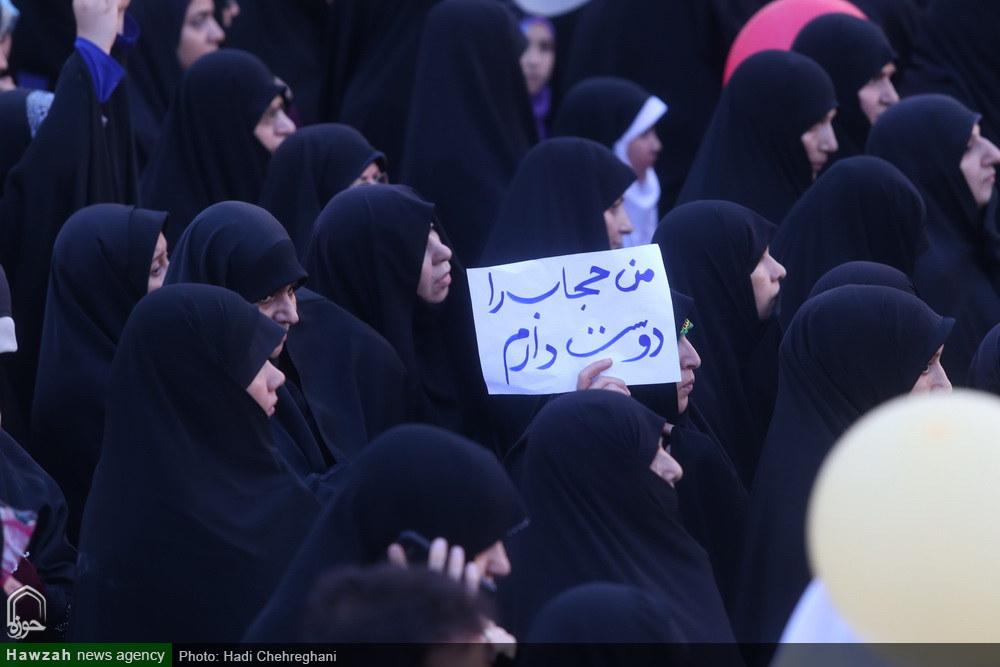 راهپیمایی باشکوه بانوان قمی در  حمایت از عفاف و حجاب