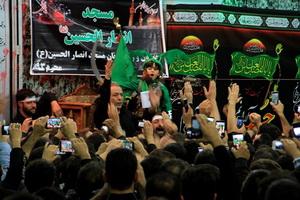 آیین طشت گذاری در مسجد انصارالحسین(ع) تهران
