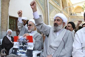 تصاویر/ تجمع طلاب و روحانیون قم در حمایت از مردم مظلوم یمن