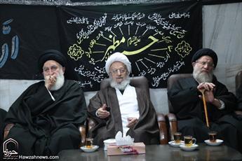 تصاویر/ عزاداری ابا عبد الله الحسین(علیه السلام) در بیت آیت الله مقتدایی