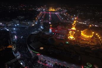 تصاویر هوایی از شب عاشورای بین الحرمین