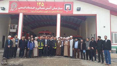 تصاویر/ حضور طلاب در ایستگاه آتشنشانی پردیسان قم