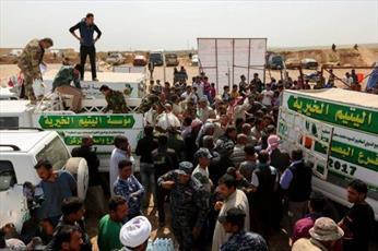 ارسال کاروان کمکهای آیت الله العظمی حکیم برای آوارگان موصل