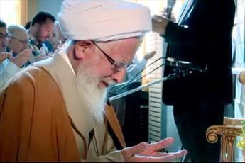 فیلم/  لحظات عارفانه آیت الله العظمی جوادی آملی در نماز عید قربان