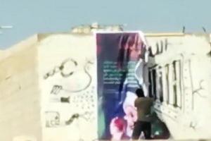 فیلم/تخریب نمادهای عاشورایی توسط مزدوران نقاب زده آل خلیفه