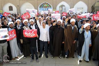 تجمع روحانیون و طلاب  اصفهان  در اعتراض به یاوهگوییهای ترامپ