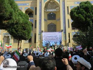 تصاویر/ تجمع طلاب و روحانیون خراسان شمالی در محکومیت اقدامات خصمانه آمریکا