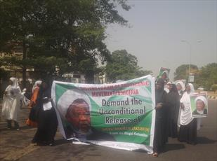 بانوان جنبش اسلامی نیجریه برای آزادی شیخ زکزاکی تظاهرات کردند+ تصاویر