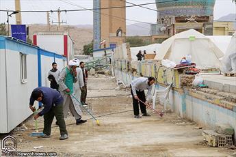 تصاویر/ خدمت رسانی مبلغان جهادی اهواز در مناطق زلزله زده
