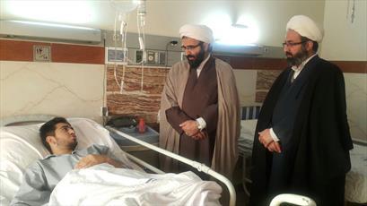 عیادت مدیر حوزه علمیه تهران از طلبه مجروح زلزله سرپل ذهاب