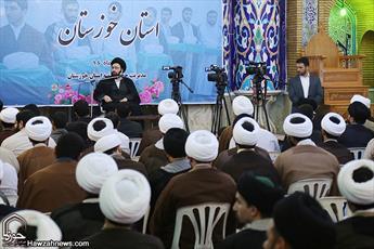 تصاویر/ نشست حجت الاسلام سیدعلی خمینی با طلاب و روحانیون خوزستان