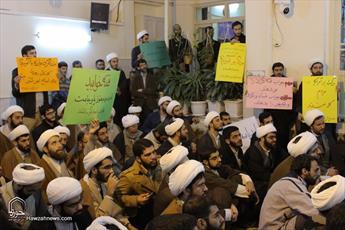 تصاویر/ تجمع طلاب و روحانیون مطالبه کننده حقوق مردم در دفتر حضرت آیت الله علوی گرگانی
