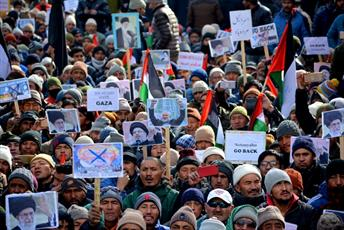 راهپیمایی ضد اسرائیلی مسلمانان کارگل هند  + تصاویر