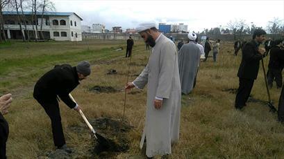 کاشت درخت در مدارس علمیه مازندران+ عکس