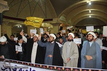 تجمع طلاب و روحانیون قزوین در واکنش به همایش مبتذل شهرداری تهران