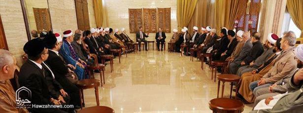 علمای مذاهب اسلامی با بشار اسد دیدار کردند +عکس