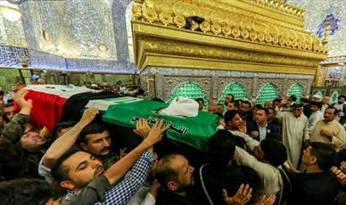 تشییع پیکر فرمانده گردان امام علی(ع) در جوار حرم امیرالمؤمنین (ع)+ تصاویر