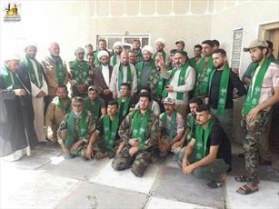 مبلغان حوزه علمیه نجف در کنار نیرو های بسیج مردمی در عزای امام صادق(ع) گریستند + تصاویر