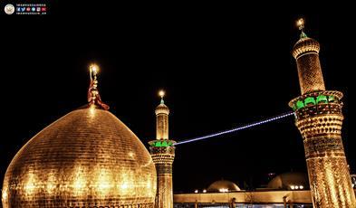 گنبد حرم حسینی در قاب آسمان شب کربلا+ تصاویر