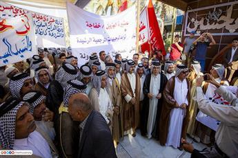 عشایر عراق در بین الحرمین کربلا دست به تظاهرات زدند + تصاویر