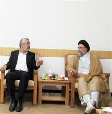 دیدار مدیر شئون دینی و مضیف آستان مقدس امیرالمؤمنین(ع) با مدیر جامعه الزهرا (س)
