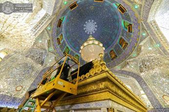 حرم امیرالمؤمنین(ع) در شهادت امام باقر و حضرت مسلم(ع) سیاه پوش شد+ تصاویر