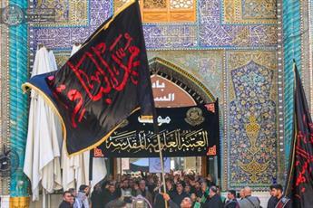 حرم امیرالمؤمنین(ع) در روز شهادت امام باقر(ع) غرق در عزا شد+ تصاویر