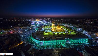 تصاویر/  حرم مطهر امام حسین و حضرت عباس علیهما السلام در آسمان شب
