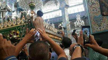 آیین تعویض گل های ضریح حضرت زینب(س) برگزار شد+ عکس